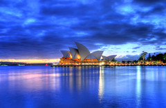 Sydney Opera House before sunrise (5ERG10) Tags: longexposure morning house west building sergio architecture photoshop sunrise reflections dawn lights 1 nikon opera harbour sydney may australia wideangle icon quay nsw newsouthwales bluehour operahouse fp frontpage 2009 sidney architettura hdr highdynamicrange circular oceania d300 3xp photomatix sigma1020 tonemapping amiti 5erg10 sergioamiti