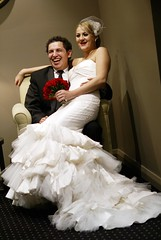 A Fish Called Victoria! (damian_white) Tags: wedding laughing groom bride sitting dress sydney australia reception april gown seated 2009 fishtail paulandvictoria