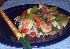 Shrimp Stir Fry and chopsticks