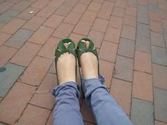 green flats (oh enrica) Tags: road brick green feet skinny shoes flats sidewalk jeans