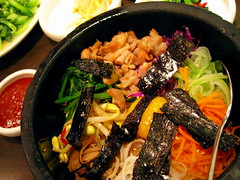 Piping Hot Rice Bowl (Sanctu) Tags: food chicken mushroom cuisine restaurant salad singapore rice cucumber egg bowl vegetable korean meal carrot dining beansprout crystaljade