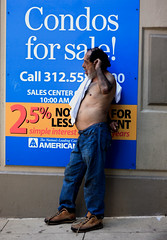Condos For Sale (Bart Heird) Tags: shirtless hairy man sign character topless indigent