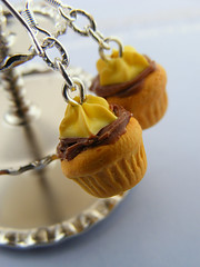 Choco-Banana Cupcakes (Shay Aaron) Tags: food cake miniature necklace chocolate aaron mini jewelry charm banana whippedcream ring fimo clay tiny pastry shay icing muffin pendant frosting petit       shayaaron