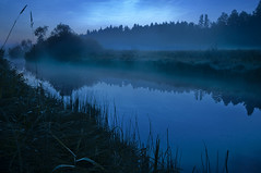 Late Night Reflection (Mikko Lagerstedt) Tags: blue light shadow red mist color detail reflection green art nature water colors beautiful field misty fog night photoshop suomi finland river dark lens landscape photography photo nikon colorful mood view darkness graphic natural image photos unique fineart stock fine perspective foggy award sigma atmosphere late lonely finnish 1020mm sell hue 2009 mikko watersca