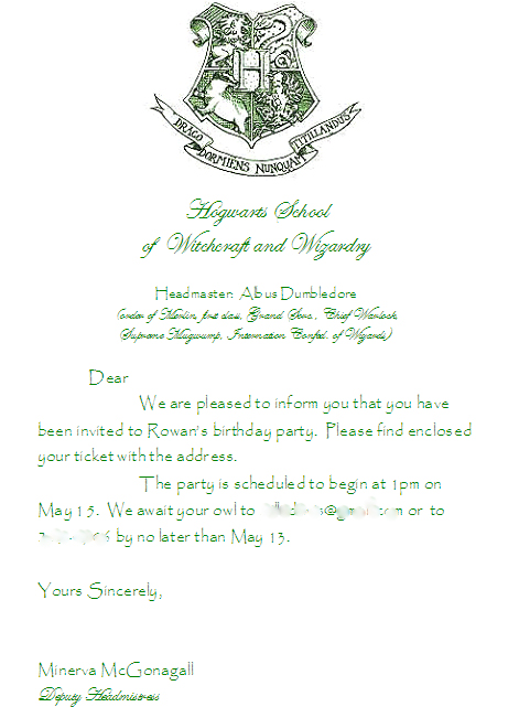 invitation to Rowan's 8th birthday