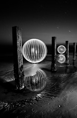 Dark Meets Light, Black meets White (Pikebubbles) Tags: longexposure light blackandwhite bw lightpainting night contrast ball dark circle sand spin orb led leds each guernsey vazon
