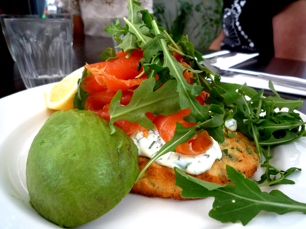 Salmon with pea feta and corn fritter