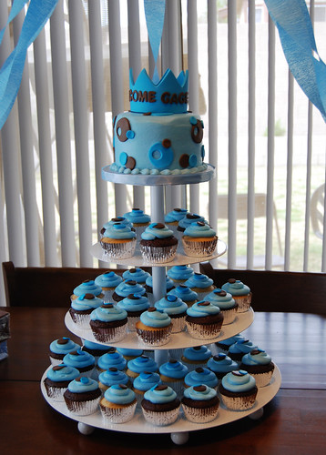 blue and brown prince baby shower cupcake tower