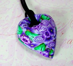 Purple flower Garden Mobius (ToniNZ) Tags: original flower floral leaves cane necklace handmade unique polymerclay clay pendant choker floraldesign polymer millefiori feaf canework toniransfield