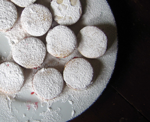 plate of raspberry sandwich cookies