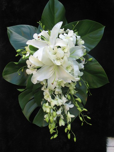 White Lily and orchid Bride's bouquet