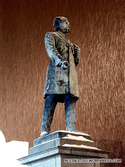 Poor freezing statue - look at the heavy snow!