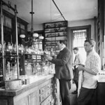 Harvey W. Wiley conducting experiments in his laboratory