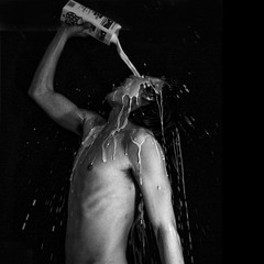 milkman (paranoidandreas) Tags: people bw white selfportrait man black art milk splash milkman bwdreams awardtree