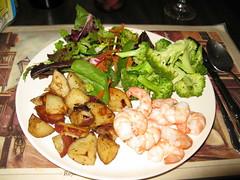 Shrimp, roasted potatoes, and good veggies