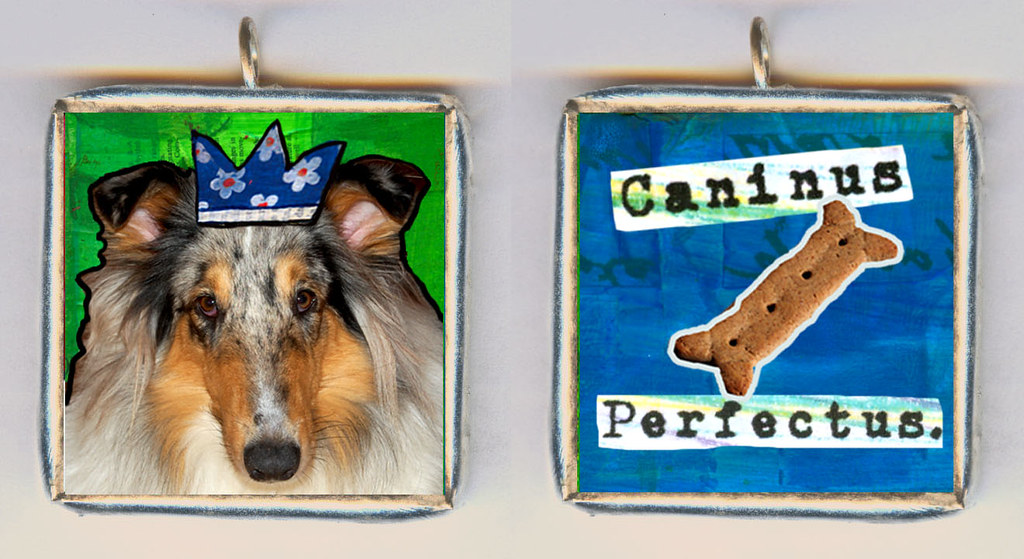 Caninus Perfectus. It's a Custom Made SOLDERED GLASS PENDANT NECKLACE for girls who just know that their dog is perfect.