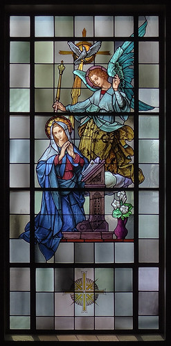 Mary Queen of Peace Roman Catholic Church, in Webster Groves, Missouri, USA - stained glass window of Annunciation 2