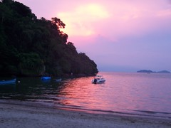 A pinky/purple sunset in Paraty, Brazil