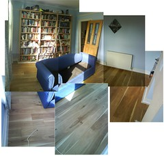 Our new floor and bookshelves