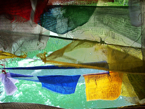 Bhutan - Prayer flags,  from the bridge