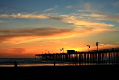 A nice night to visit the beach! (Nancy Rose) Tags: ocean california sunset sky people beach clouds pier waves pacific silhouettes wharf pismo