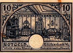 Stutzerbadt w/a, 10 pf, 1918 (Iliazd) Tags: germany inflation notgeld papermoney deflation inflationary germancurrency emergencymoney 19171923 germanpapermoney