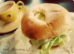 Good Morning ^_^ (Sylvia128) Tags: chicken cup lumix cafe tea fresh panasonic lettuce bagel goodmorning seventies barista beautifulday pioneerwomanactions