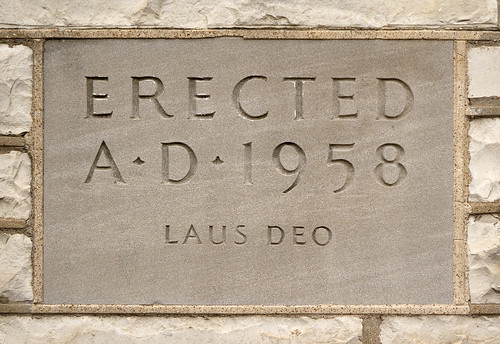 Cornerstone at former Daughters of Charity convent, at the University of Missouri - Saint Louis, in Normandy, Missouri, USA