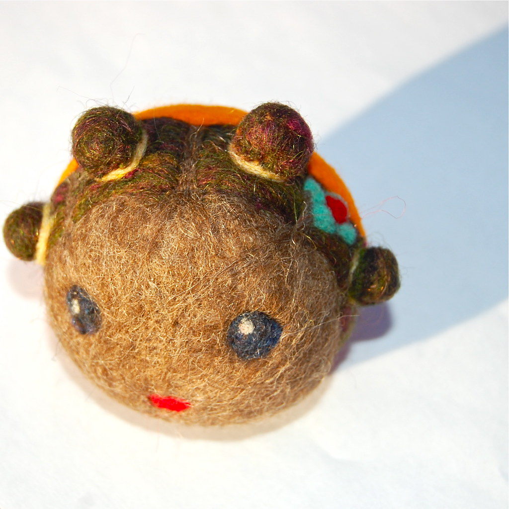 Needle Felted Wool African American Doll Ball