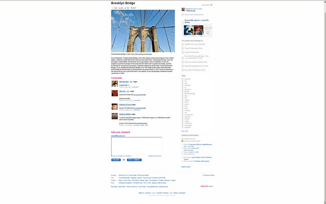 flickr screen shot on Dell 30 inch monitor at 2560x1600 resolution