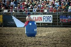 Bull_Target (peasap) Tags: california canon cowboy clown sunday barrel lakeside april rodeo 5d kusi rodeoclown bestjob craziestjob elcajonford 45thannuallakesiderodeo lakesiderodeogrounds elcapitanstadiumassociation
