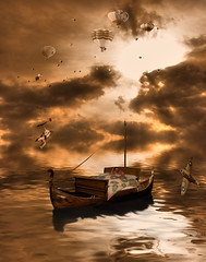 Ever woken up in a strange place? (Mr Bultitude) Tags: morning sun flower strange clouds photoshop balloons boat weird bed place rifle balloon surreal manipulation spitfire rays wtf dreamscape dreamcatcher wakingup robertcapa neilcarey graphicmaster spitgull