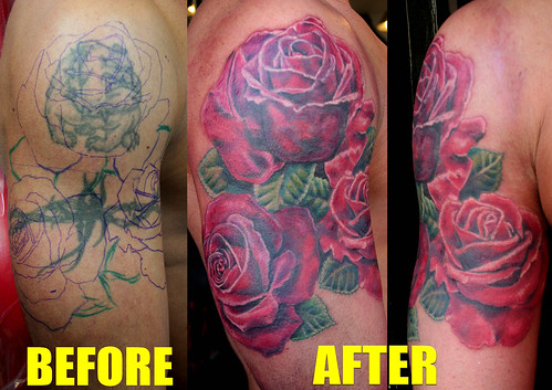 roses tattoo cover up by Mirek vel Stotker