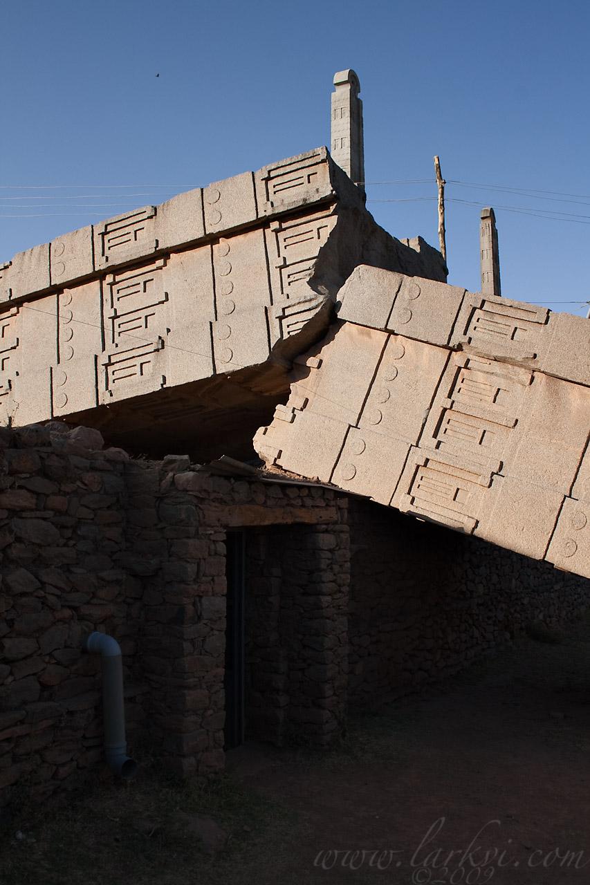 Crack, , Stela 1, Axum, Tigray, Ethiopia, April 2009