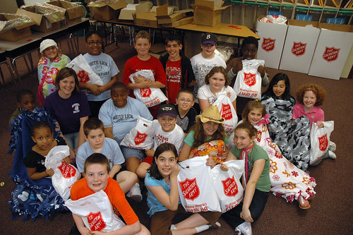 Mrs. Steffans Fourth Graders packed over 100 welcome kits for The Salvation Armys Womens and Childrens Shelter
