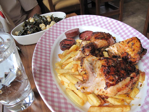 Chicken with Summer Sausage and Fries and Collards at the Publican - Chicago