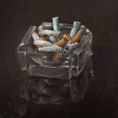Butts (fRiedl aRt) Tags: painting cigarette butts oil ash tray ashtray friedl rockford artfriedl masionite