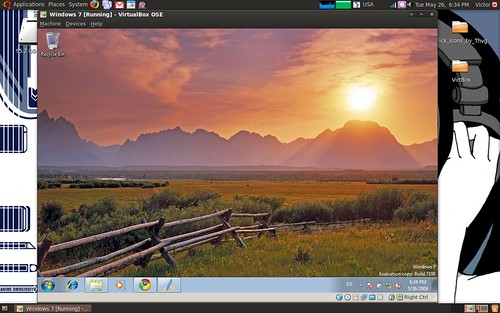 Windows 7 in Virtual Box, Ubuntu 9.04 by VrmpX.