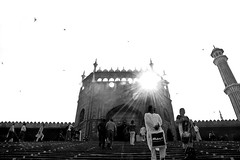 Let the Sunshine (BB (O.)) Tags: travel friends people bw india white black birds stairs nikon friendship delhi indian mosque dome bo muslims bb nocrop vacations jamamasjid olddelhi o d40  achromatic mughalemperorshahjahan saveass northeastentrance birdsflyinghigh masjidijahnnum