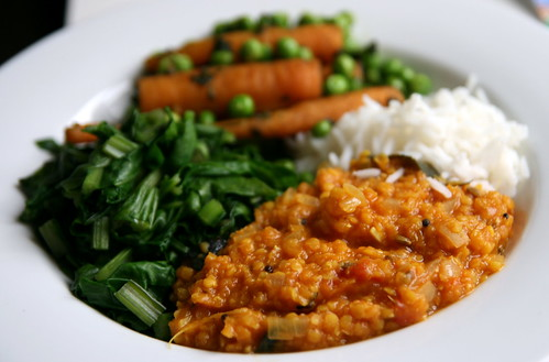 Red Lentil Dal with Greens, Carrots, Peas and Basmati Rice
