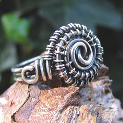 ring~handmade sterling silver wire wrapped ring (ErikaLyn~GRJ &Cu29) Tags: handmade unique jewelry jewellery trendy rockabilly artdeco hip etsy jewelery bohemian artisan alternative hypnotic gravelroad jewellry oxidized sterlingsilver bonnieblue wirewrapped hobochic gravelroadjewelry