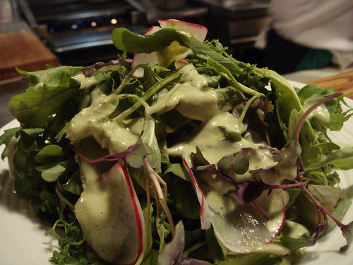 local lettuces with wild leek vinaigrette