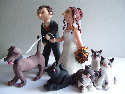Handcrafted Personalised Wedding Cake Toppers Bride And Groom Cats Dog