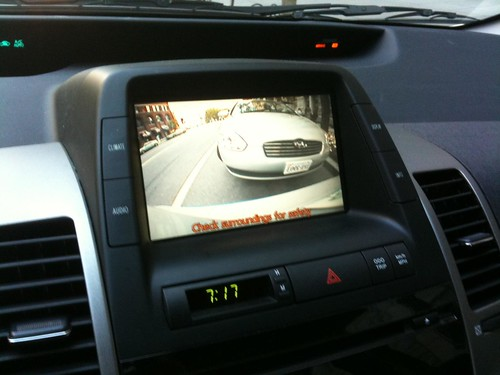 Rearview camera in our Prius rental