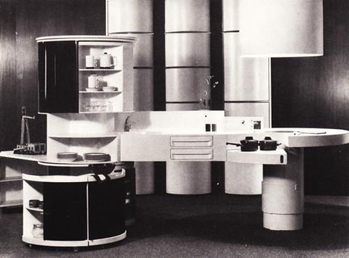 """Home 1980"" futurist kitchen, early '70s"