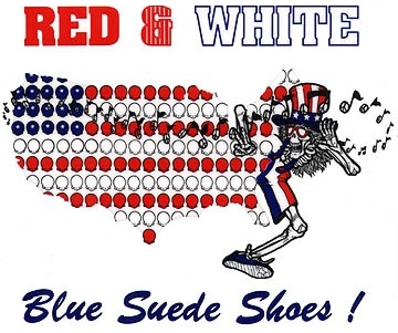 Red & White Blue Suede Shoes Grateful Dead skeleton U.S. Blues dealie design thingy