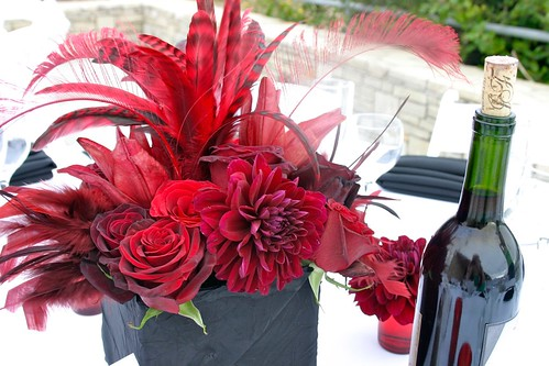Closeup of red and black centerpiece
