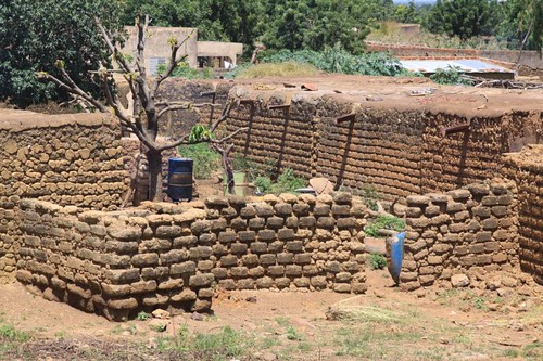 Mud brick buildings in Burkina Faso.