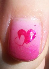 pink heart ombre nail look
