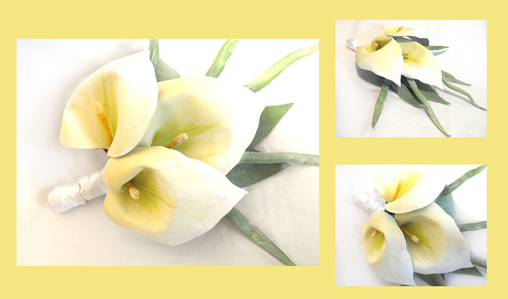 Wedding calla bouquet. Bridal artificial leather flowers bouquet.